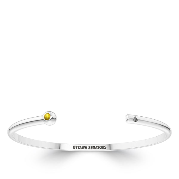 Ottawa Senators Yellow Sapphire Engraved Cuff Bracelet In Sterling Silver