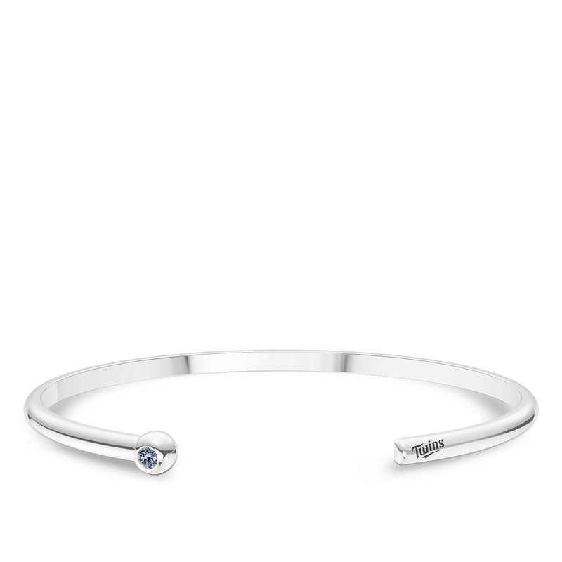 Minnesota Twins White Sapphire Engraved Cuff Bracelet In Sterling Silver