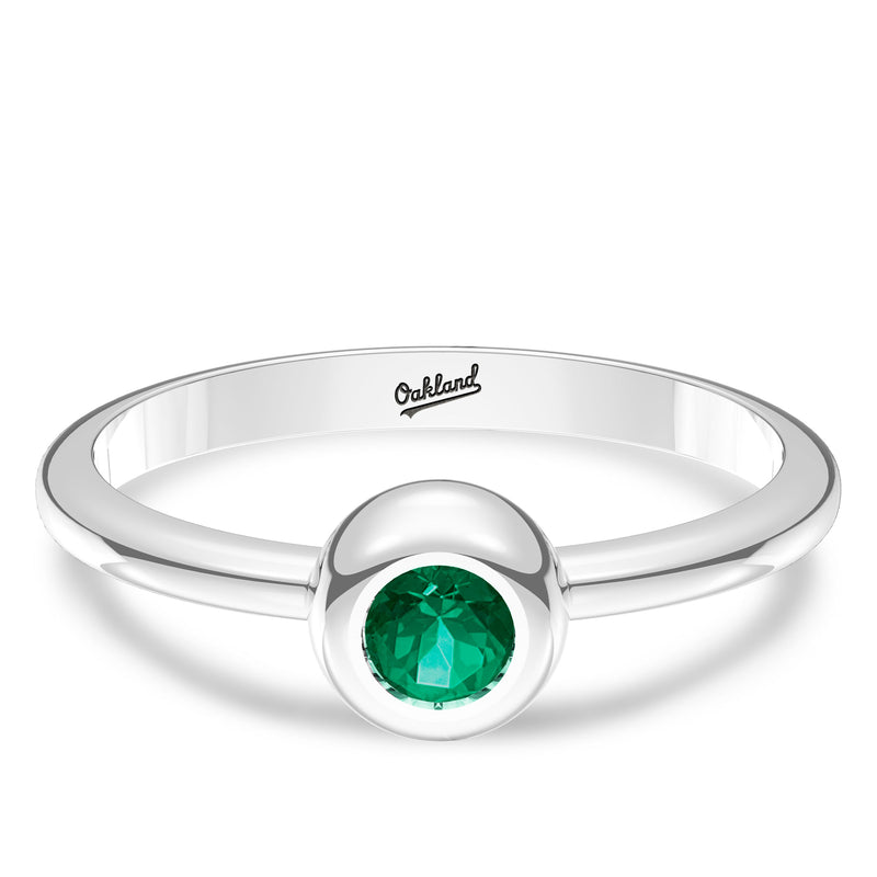 Oakland Athletics Emerald Engraved Ring In Sterling Silver