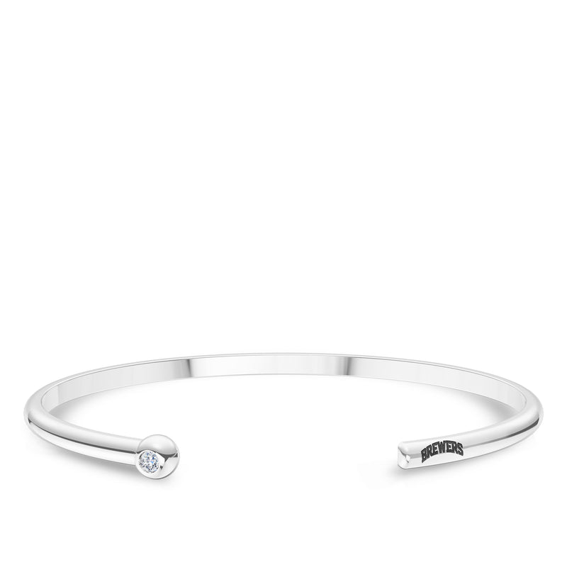 Milwaukee Brewers Diamond Engraved Cuff Bracelet In Sterling Silver