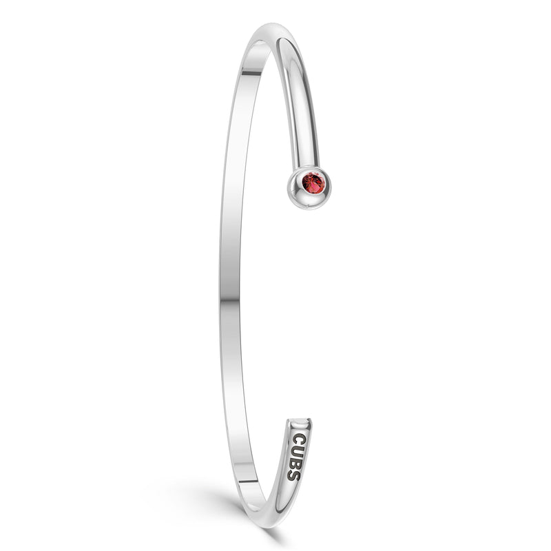Chicago Cubs Ruby Engraved Cuff Bracelet In Sterling Silver