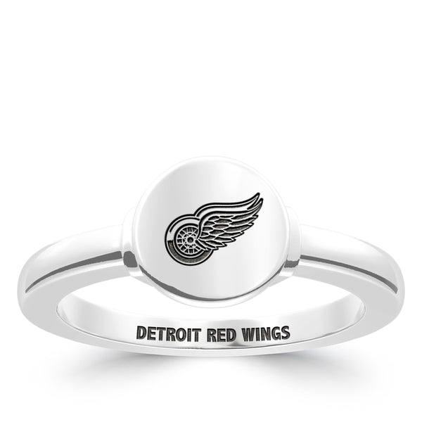 Detroit Redwings Logo Engraved Ring In Sterling Silver