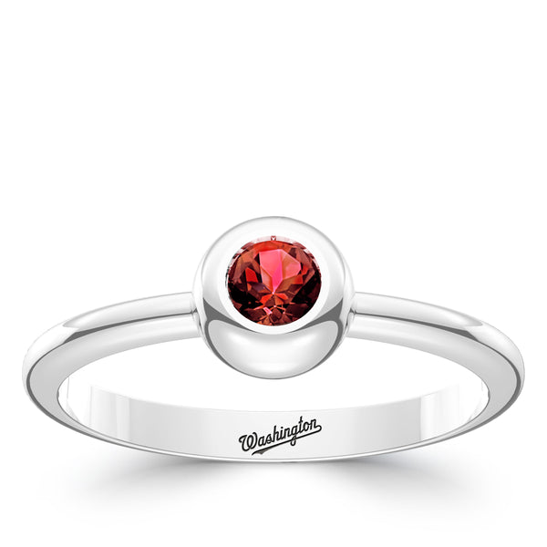 Washington Nationals Ruby Engraved Ring In Sterling Silver