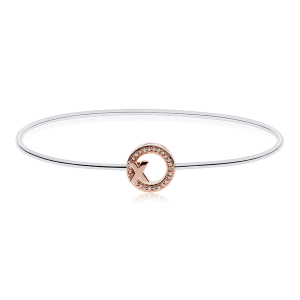 Bixlers Pure Love Diamond X and O Wire Bangle In Sterling Silver & 14K Rose Gold