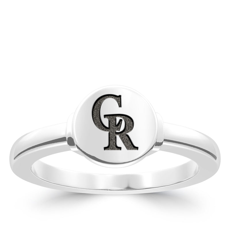 Colorado Rockies Logo Engraved Ring In Sterling Silver