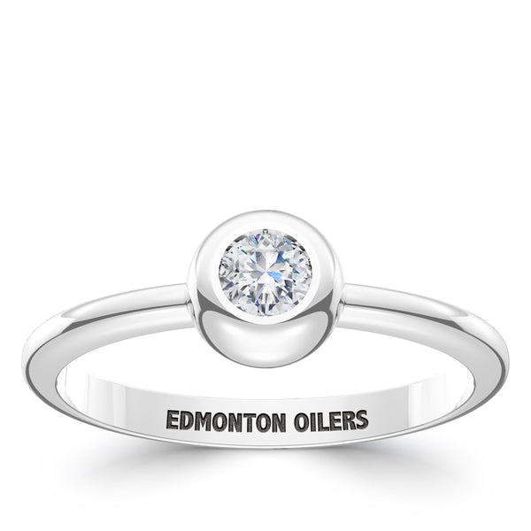 Edmonton Oilers Diamond Engraved Ring In Sterling Silver