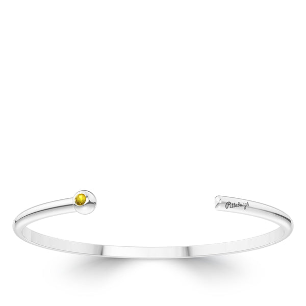 Pittsburgh Pirates Yellow Sapphire Engraved Cuff Bracelet In Sterling Silver