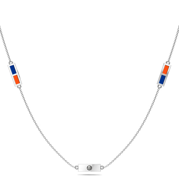 New York Islanders Triple Station Necklace In Sterling Silver