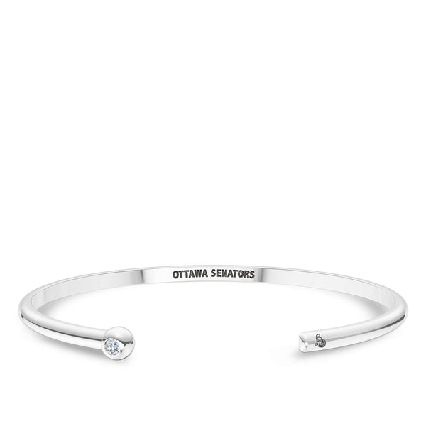 Ottawa Senators Diamond Engraved Cuff Bracelet In Sterling Silver