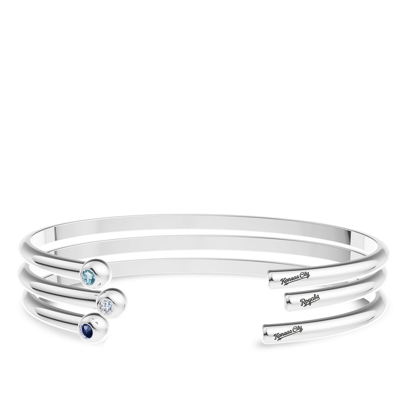 Kansas City Royals Sapphire Engraved Cuff Bracelet In Sterling Silver