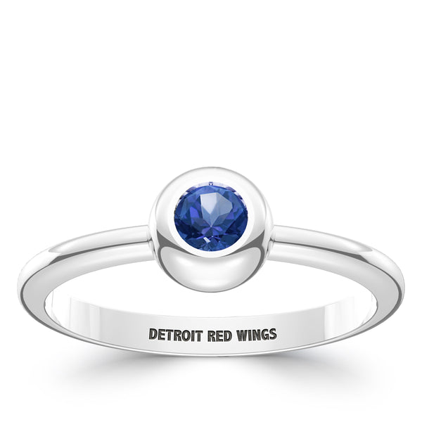 Detroit Redwings Ruby Engraved Ring In Sterling Silver