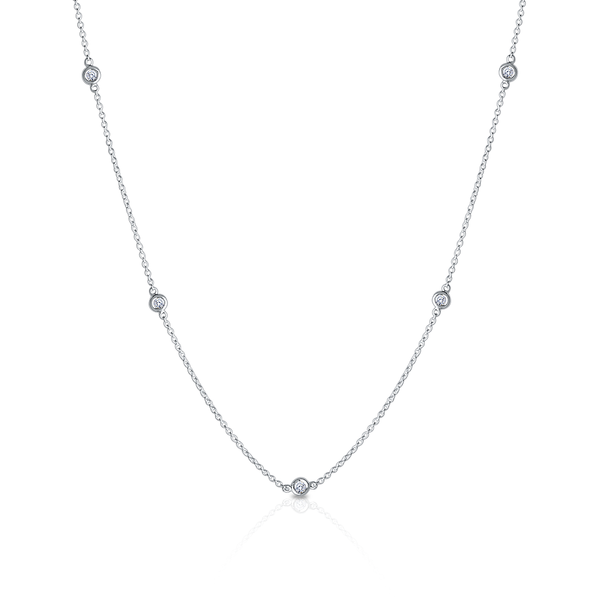 Bixlers Dew Drop Diamond Bezel Necklace In Sterling Silver