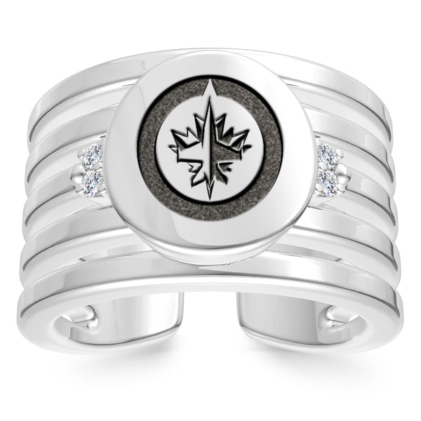 Winnipeg Jets Diamond Logo Engraved Multiband Ring In Sterling Silver