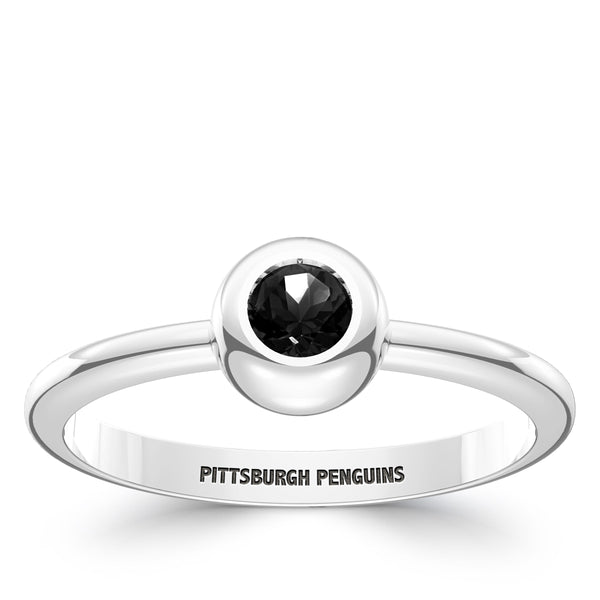 Pittsburgh Penguins Onyx Engraved Ring In Sterling Silver