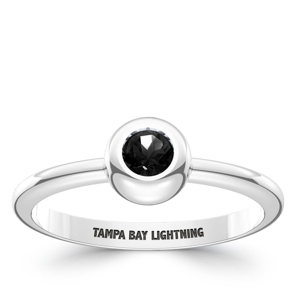 Tampa Bay Lightning Onyx Engraved Ring In Sterling Silver
