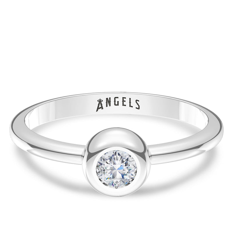 Los Angeles Angels Diamond Engraved Ring In Sterling Silver