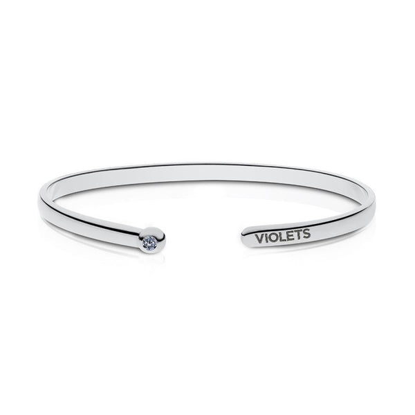 New York University White Sapphire Engraved Cuff Bracelet In Sterling Silver