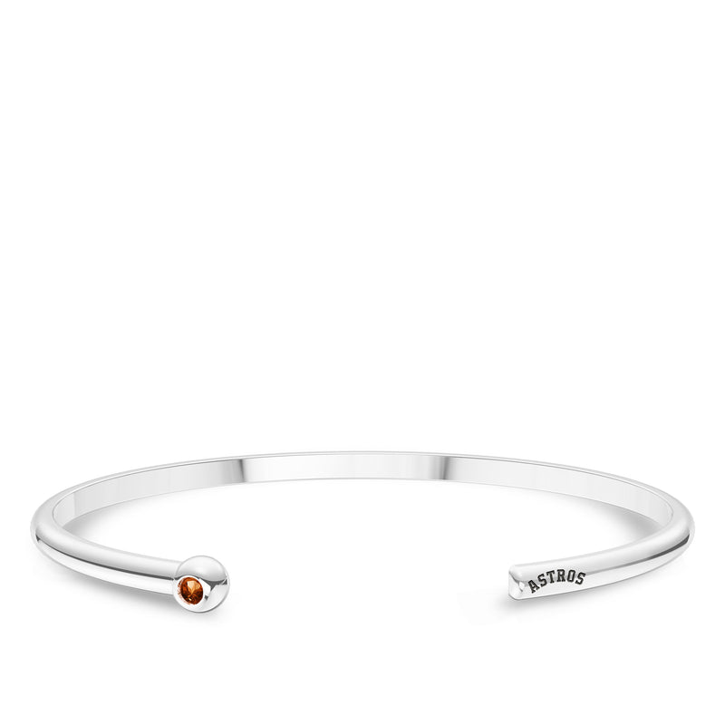 Houston Astros Citrine Engraved Cuff Bracelet In Sterling Silver