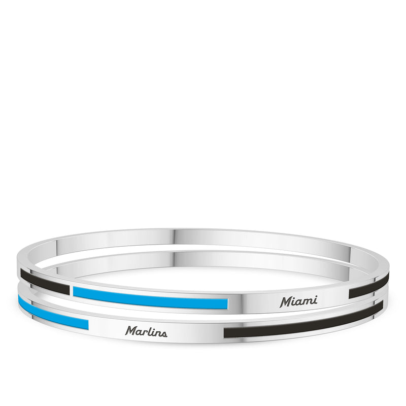 Miami Marlins Engraved Two-Tone Enamel Bracelet In Sterling Silver