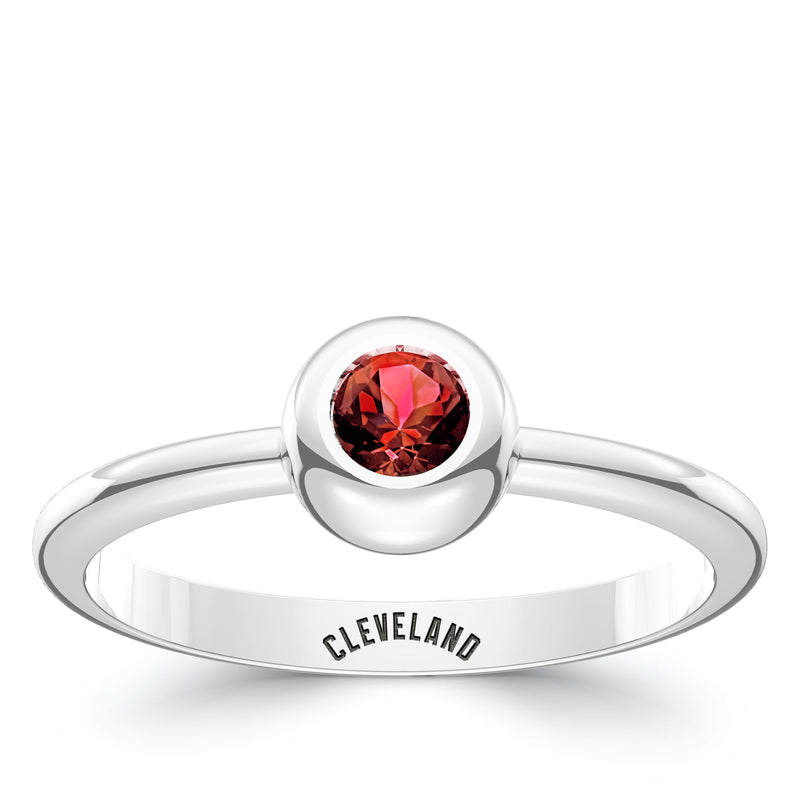Cleveland Indians Sapphire Engraved Ring In Sterling Silver