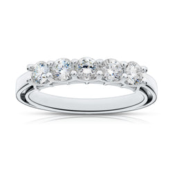 Bixlers Prong Set Diamond Diana Wedding Band In 14K White Gold