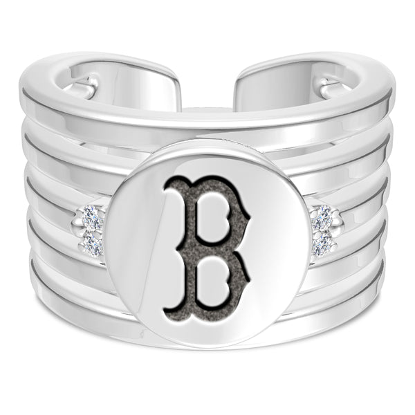 Boston Red Sox Diamond Logo Engraved Multiband Ring In Sterling Silver