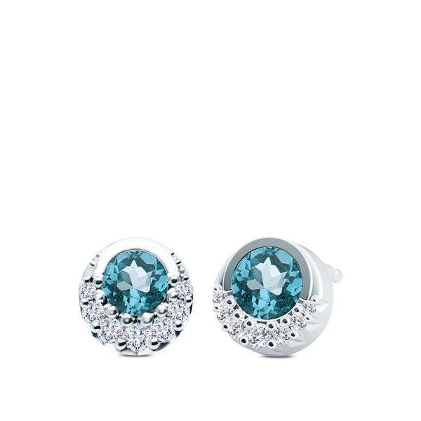 Bixlers Easton Diamond and Aquamarine Crescent Halo Earrings In 14k Gold