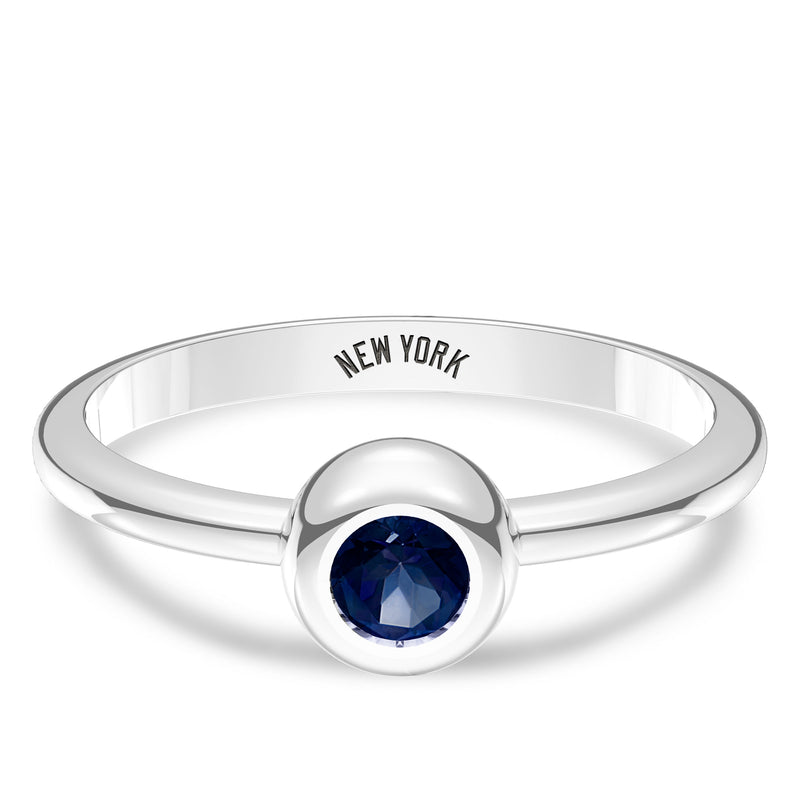 New York Yankees Sapphire Engraved Ring In Sterling Silver