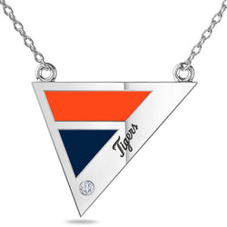 Detroit Tigers Geometric Necklace In Sterling Silver