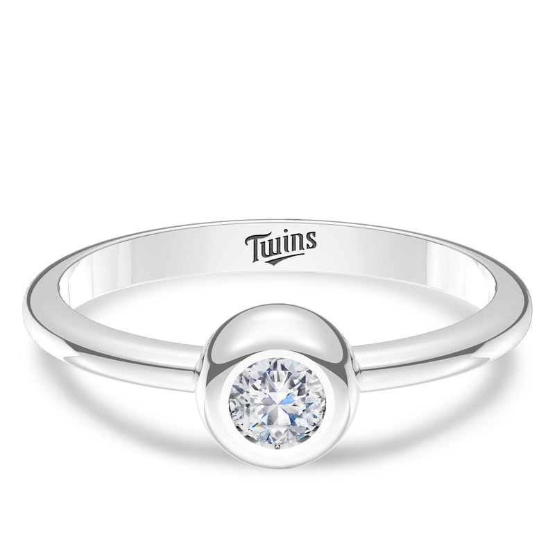 Minnesota Twins Diamond Engraved Ring In Sterling Silver