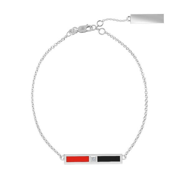 Texas Tech University Diamond Bar Bracelet In Sterling Silver