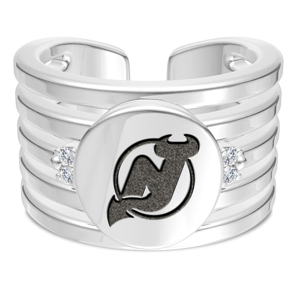 New Jersey Devils Diamond Logo Engraved Multiband Ring In Sterling Silver