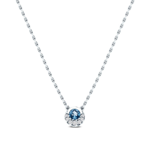 Bixlers Easton Diamond Crescent Halo Necklace In 14K White Gold