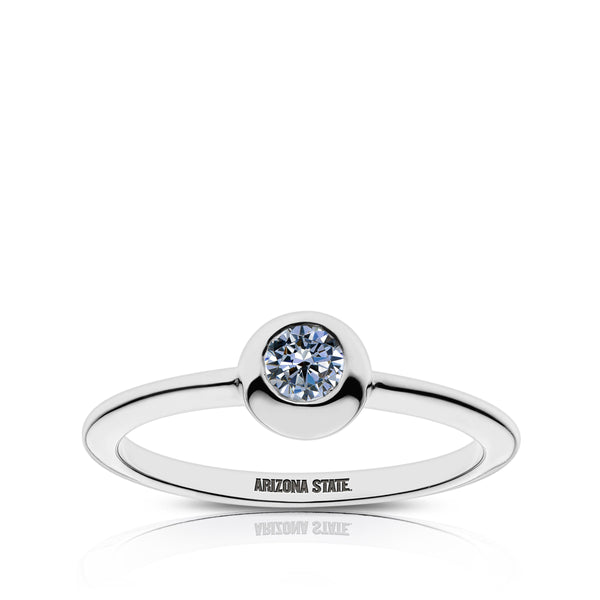 Arizona State University White Sapphire Engraved Ring In Sterling Silver