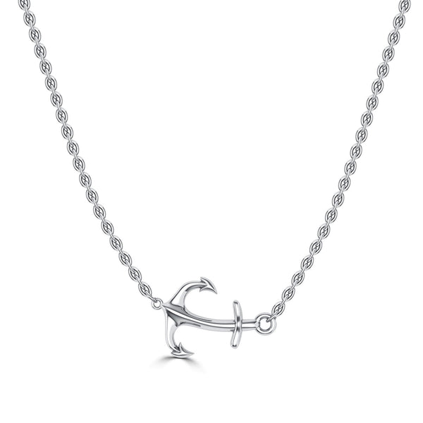 Bixlers Nautical Diamond Curved Anchor Necklace In Sterling Silver