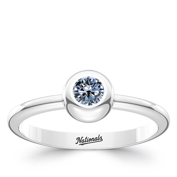 Washington Nationals White Sapphire Engraved Ring In Sterling Silver