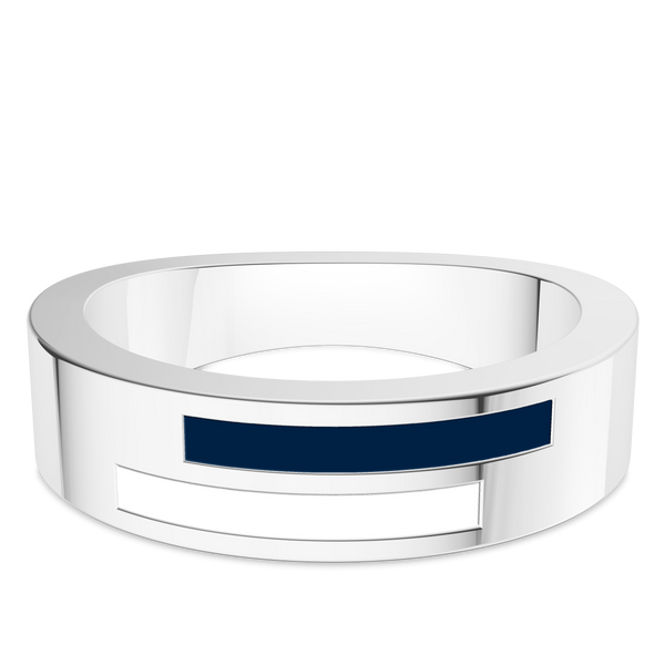 Yale University Asymmetric Enamel Ring In Sterling Silver