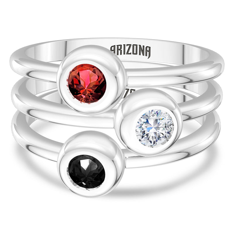 Arizona Diamondbacks Garnet Engraved Ring In Sterling Silver