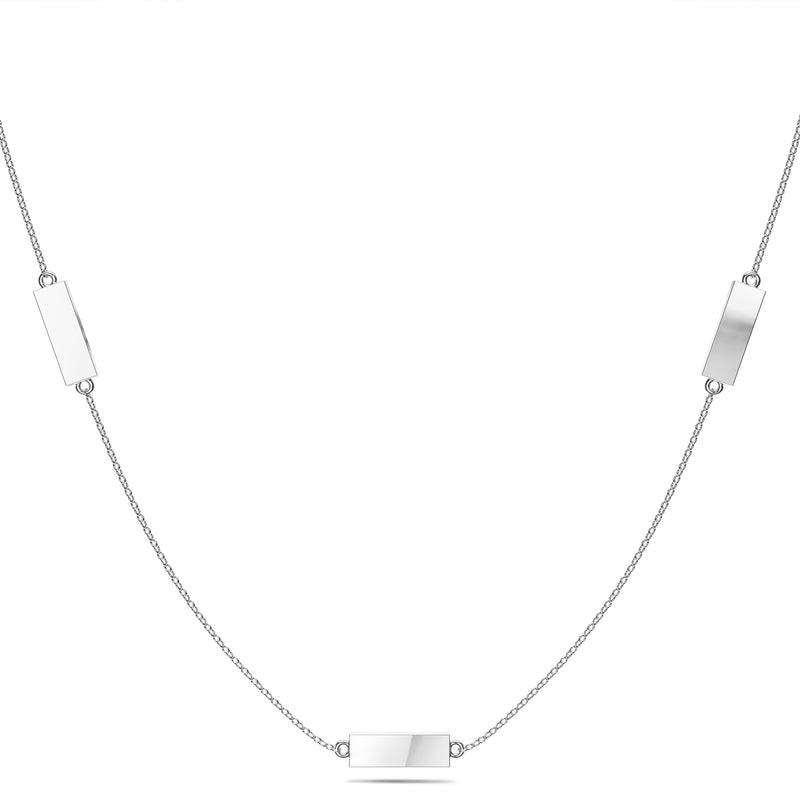 New York Yankees Triple Station Necklace In Sterling Silver