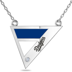 Los Angeles Dodgers Geometric Necklace In Sterling Silver