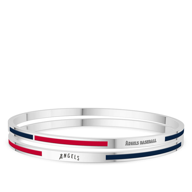 Los Angeles Angels Engraved Two-Tone Enamel Bracelet In Sterling Silver