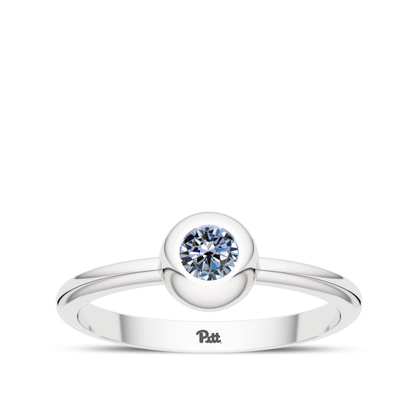 University Of Pittsburgh White Sapphire Engraved Ring In Sterling Silver