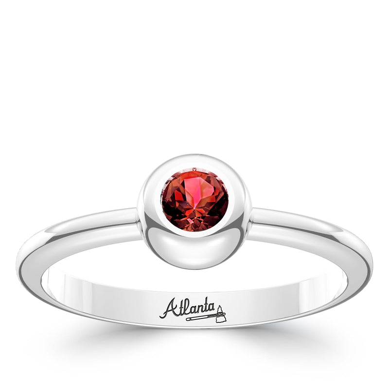 Atlanta Braves Ruby Engraved Ring In Sterling Silver