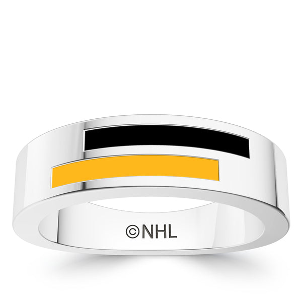 Boston Bruins Asymmetric Enamel Ring In Sterling Silver