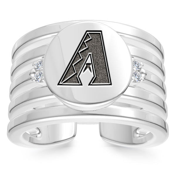 Arizona Diamondbacks Diamond Logo Engraved Multiband Ring In Sterling Silver
