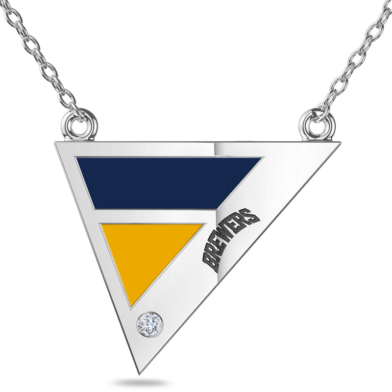 Milwaukee Brewers Geometric Necklace In Sterling Silver