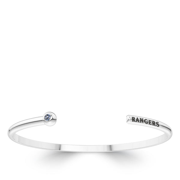 Texas Rangers White Sapphire Engraved Cuff Bracelet In Sterling Silver