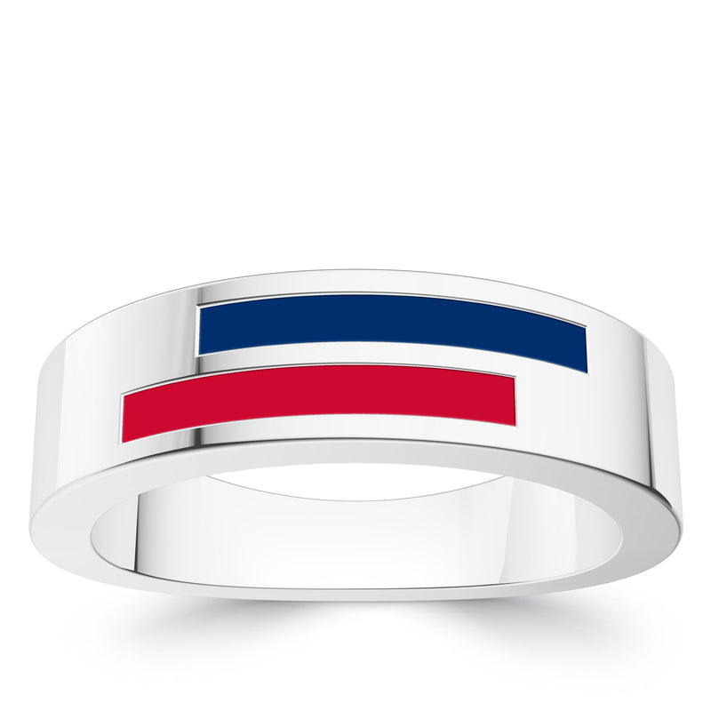 Chicago Cubs Asymmetric Enamel Ring In Sterling Silver