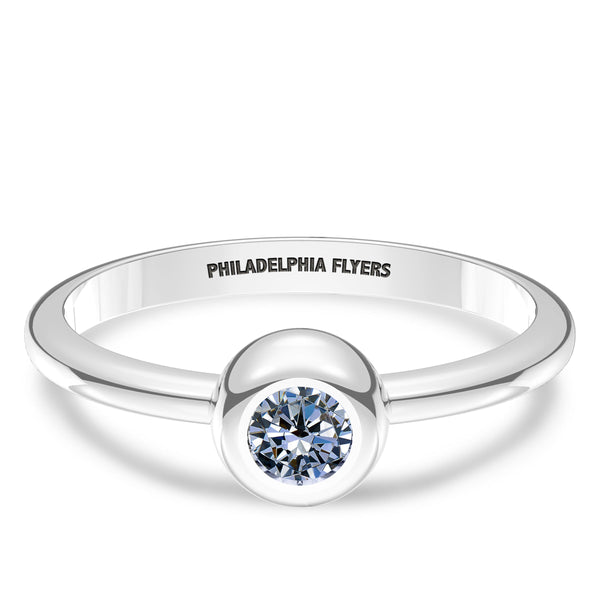 Philadelphia Flyers White Sapphire Engraved Ring In Sterling Silver