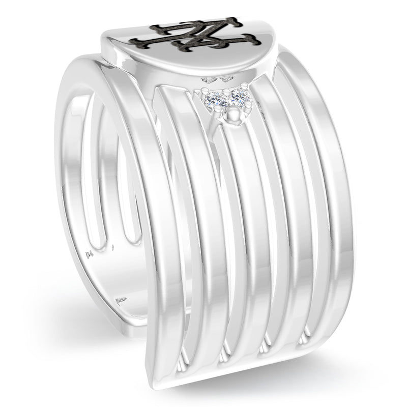 New York Mets Diamond Logo Engraved Multiband Ring In Sterling Silver
